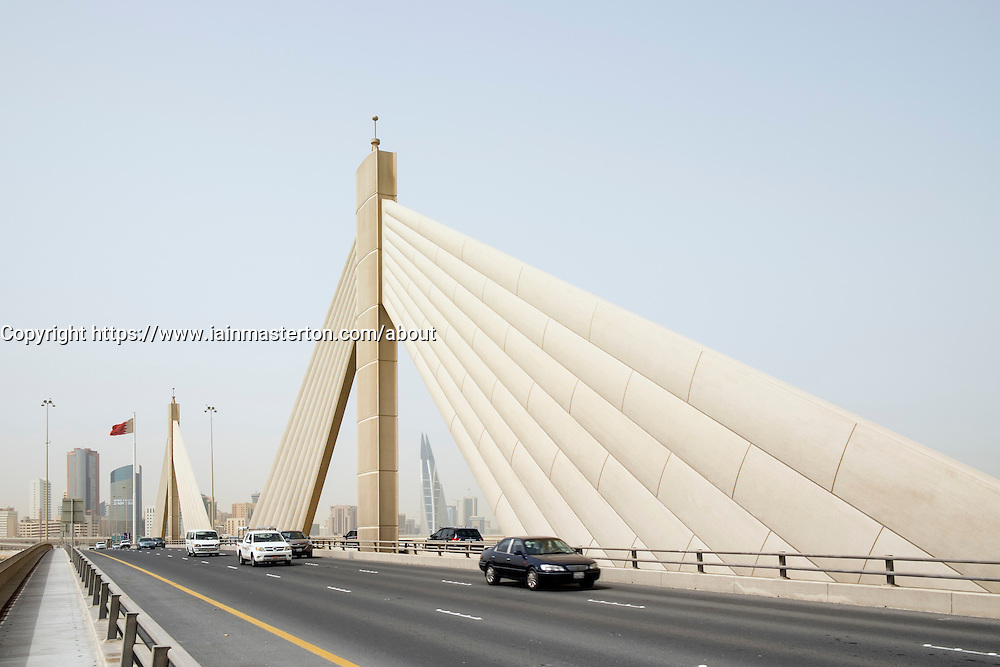 Sheikh Isa bin Salman Causeway Bridge, linking  Manama and Muharraq Island in Kingdom of Bahrain