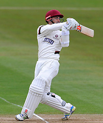 Somerset's Johann Myburgh pulls the ball. - Photo mandatory by-line: Harry Trump/JMP - Mobile: 07966 386802 - 04/04/15 - SPORT - CRICKET - Pre Season - Day 3 - Somerset v Durham MCCU - Taunton Vale, Somerset, England.