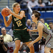 HARTFORD, CONNECTICUT- JANUARY 10: Maria Jespersen #12 of the South Florida Bulls defended by Molly Bent #10 of the Connecticut Huskies during the the UConn Huskies Vs USF Bulls, NCAA Women's Basketball game on January 10th, 2017 at the XL Center, Hartford, Connecticut. (Photo by Tim Clayton/Corbis via Getty Images)