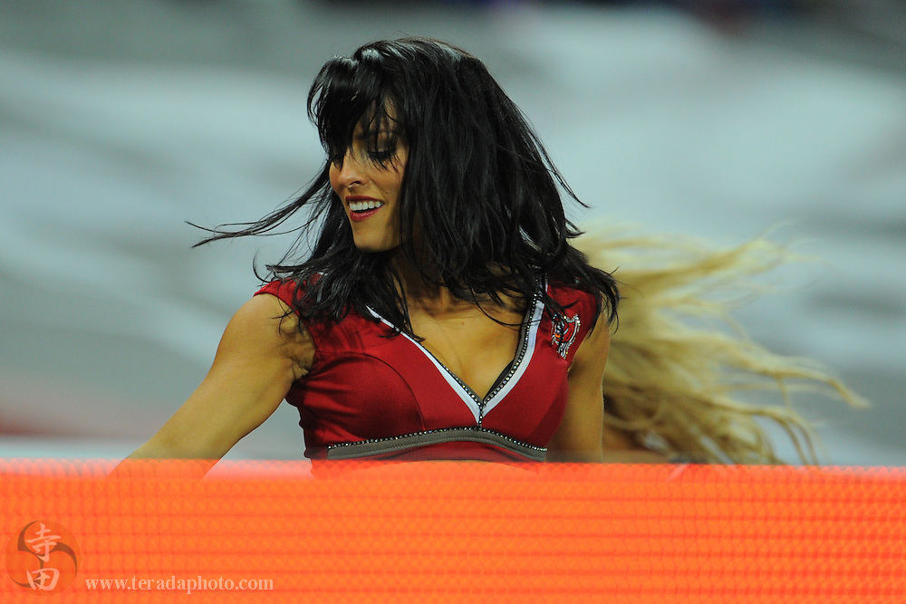 October 23, 2011; London, ENGLAND; Tampa Bay Buccaneers cheerleader Karen Bittinger performs during the third quarter in the NFL International Series game against the Chicago Bears at Wembley Stadium. The Bears defeated the Buccaneers 24-18.
