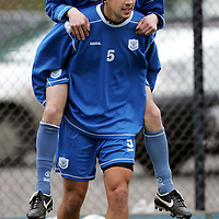 St Johnstone Training...07.11.06<br />Allan McManus gives a piggy back to his team mate Willie McLaren during training this morning before facing Rangers in tomorrow nights CIS Cup quarter final at Ibrox.<br />see story by Gordon Bannerman Tel: 01738 553978 or 07729 865788<br />Picture by Graeme Hart.<br />Copyright Perthshire Picture Agency<br />Tel: 01738 623350  Mobile: 07990 594431