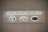 Nissan Motor corporation logo at the headquarters of Japan's auto giant Nissan Motor in Yokohama, in suburban Tokyo, on July 27, 2016.<br /> Nissan is expected to announce its financial result of the first quarter from April to June 2016.26/07/2016-Yokohama, JAPAN