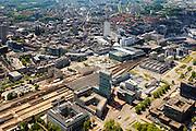 Nederland, Noord-Brabant, Eindhoven, 27-05-2013; stationsgebied in de binnenstad, Centraal Station met omgeving, met onder andere 17 en 18 Septemberplein, Vestdijk en Vestdijktunnel. Rechtsboven is nog een stukje Philipsstadion te zien (PSV), midden woontorenAdmirant aan de Nieuwe Emmasingel, hoogste gebouw in de stad.<br /> Downtown area with central station and immediate environment, top pic a small piece of the PSV Football Stadium (Philips Stadion).<br /> luchtfoto (toeslag op standard tarieven);<br /> aerial photo (additional fee required);<br /> copyright foto/photo Siebe Swart