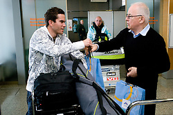 Slovenian ski jumper Jernej Damjan and Ivo Tomc of OKS at arrival to Airport Joze Pucnik from Vancouver after Winter Olympic games 2010, on February 24, 2010 in Brnik, Slovenia. (Photo by Vid Ponikvar / Sportida)