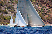 Veritas and Velsheda sailing in the Old Road Race at the Antigua Classic Yacht Regatta.