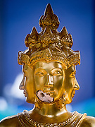 22 AUGUST 2015 - BANGKOK, THAILAND: The face of the Buddha statue in Erawan Shrine was damaged in the terrorist attack at the shrine on August 17. Erawan Shrine in Bangkok reopened Wednesday, August 19, after more than 20 people were killed and more than 100 injured in a bombing at the shrine Monday, August 17, 2015. The shrine is a popular tourist attraction in the center of Bangkok's high end shopping district and is an important religious site for Thais. No one has claimed responsibility for the bombing.             PHOTO BY JACK KURTZ