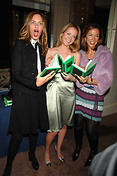 Left to right, TRINNY WOODALL, KATE REARDON and HEATHER KERZNER at a party to celebrate the publication of Top Tips For Girls by Kate Reardon held at Claridge's, Brook Street, London on 28th January 2008.<br />