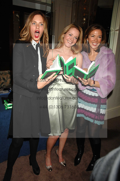 Left to right, TRINNY WOODALL, KATE REARDON and HEATHER KERZNER at a party to celebrate the publication of Top Tips For Girls by Kate Reardon held at Claridge's, Brook Street, London on 28th January 2008.<br /><br />NON EXCLUSIVE - WORLD RIGHTS