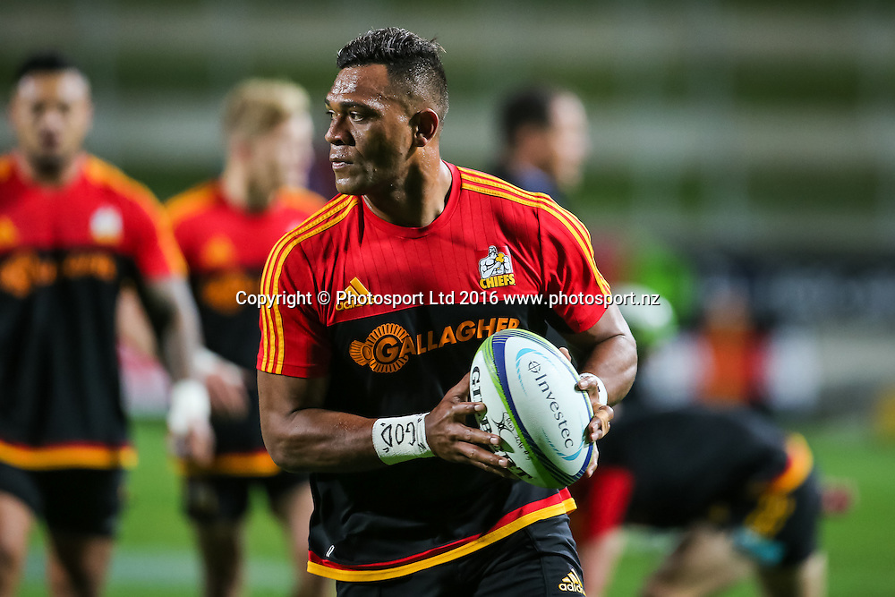 Chiefs centre Seta Tamanivalu during pre-game warm ups ahead of the Super Rugby match - Chiefs v Rebels played at FMG Stadium Waikato, Hamilton, New Zealand on Saturday 21 May 2016. <br /> <br /> Copyright Photo: Bruce Lim / www.photosport.nz