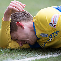 Aberdeen v St Johnstone…31.03.18…  Pittodrie    SPFL<br />Blair Alston lies injured<br />Picture by Graeme Hart. <br />Copyright Perthshire Picture Agency<br />Tel: 01738 623350  Mobile: 07990 594431