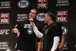 November 11, 2011; Santa Monica, CA; USA; UFC heavyweight champion Cain Velasquez speaks to Joe Rogan after weighing in for his upcoming fight against Junior Dos Santos.  The two will meet on Saturday night in the main event at the Honda Center in Anaheim, CA.