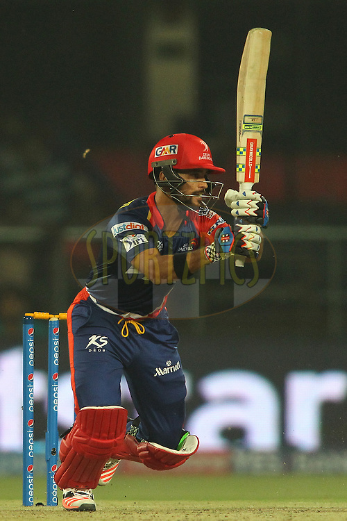 Delhi Daredevils captain Jean-Paul Duminy sets off for a run during match 21 of the Pepsi IPL 2015 (Indian Premier League) between The Delhi Daredevils and The Mumbai Indians held at the Ferozeshah Kotla stadium in Delhi, India on the 23rd April 2015.<br /> <br /> Photo by:  Shaun Roy / SPORTZPICS / IPL