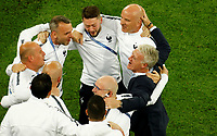 SAINT PETERSBURG, RUSSIA - JULY 10: France national team head coach Didier Deschamps (R) celebrates victory with his staff during the 2018 FIFA World Cup Russia Semi Final match between France and Belgium at Saint Petersburg Stadium on July 10, 2018 in Saint Petersburg, Russia. MB Media