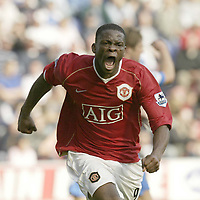 Photo: Aidan Ellis.<br /> Wigan Athletic v Manchester United. The Barclays Premiership. 14/10/2006.<br /> United's Louis Saha celebrates the second goal