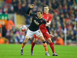 LIVERPOOL, ENGLAND - Wednesday, January 20, 2016: Liverpool's Brad Smith in action against Exeter City's Alex Nicholls during the FA Cup 3rd Round Replay match at Anfield. (Pic by David Rawcliffe/Propaganda)