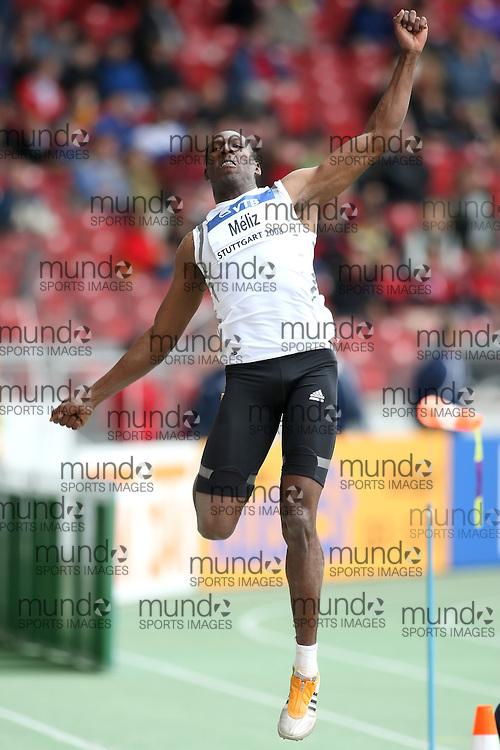 (Stuttgart, Germany---14 September 2008) Luis Felipe Méliz of Spain competing in the long jump at the 2008 World Athletics Final. [Copyright Sean W. Burges/Mundo Sport Images, 2008.]