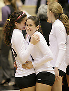 West Point, NY - Two Army players celebrate their victory over Lehigh in the Patriot League women's volleyball tournament at the United States Military Academy on Nov. 21, 2009.