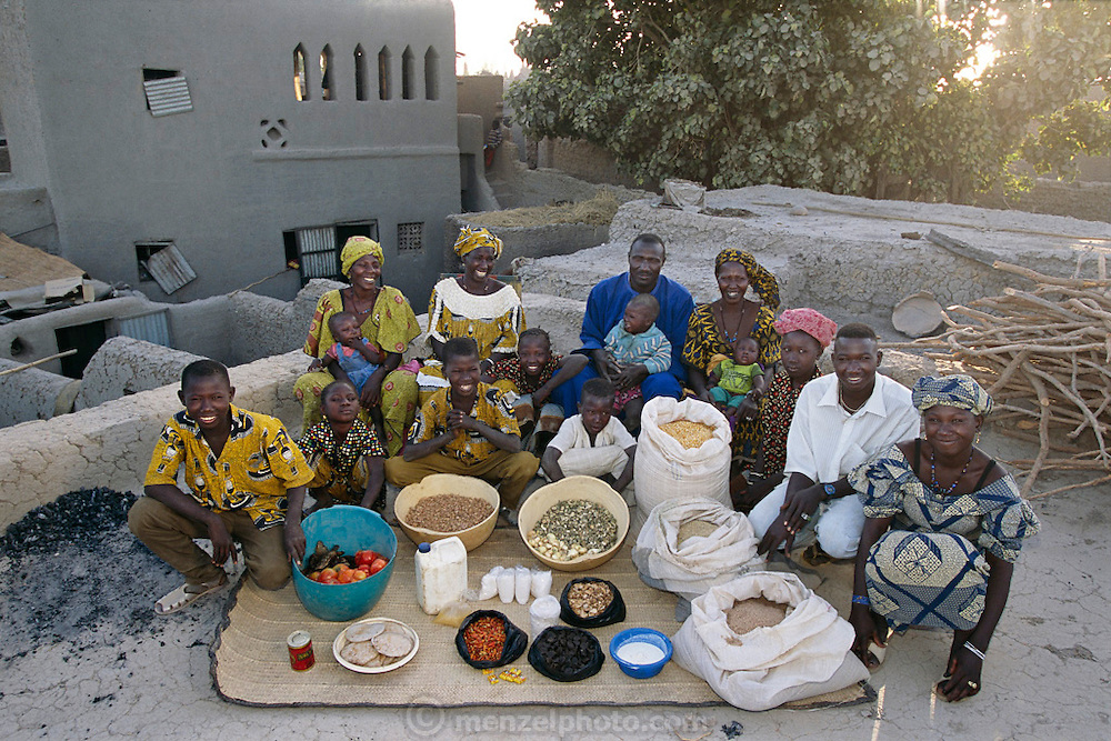 (MODEL RELEASED IMAGE).The Natomo family on the roof of their mud-brick home in Kouakourou, Mali, with a week's worth of food. Family members: Soumana Natomo, 46, sits flanked by his two wives, Fatoumata Toure, 33 and Pama Kondo, 35. Soumana and Fatoumata's children are daughter Tena, 4 months, daughter Fourou, 12, son Kansy, 4, and son and daughter Mama, 8, and Fatoumata, 10. Soumana and Pama's children are son Mamadou, 10, son Mama, 13, and son and daughter Kantie, 16, and Pai, 18. To Pama's left is Kadia Foune, 33, Soumana's sister-in-law, with her children Kantie, 1, and Mariyam, 8. The Natomo family is one of the thirty families featured in the book Hungry Planet: What the World Eats (p. 206).
