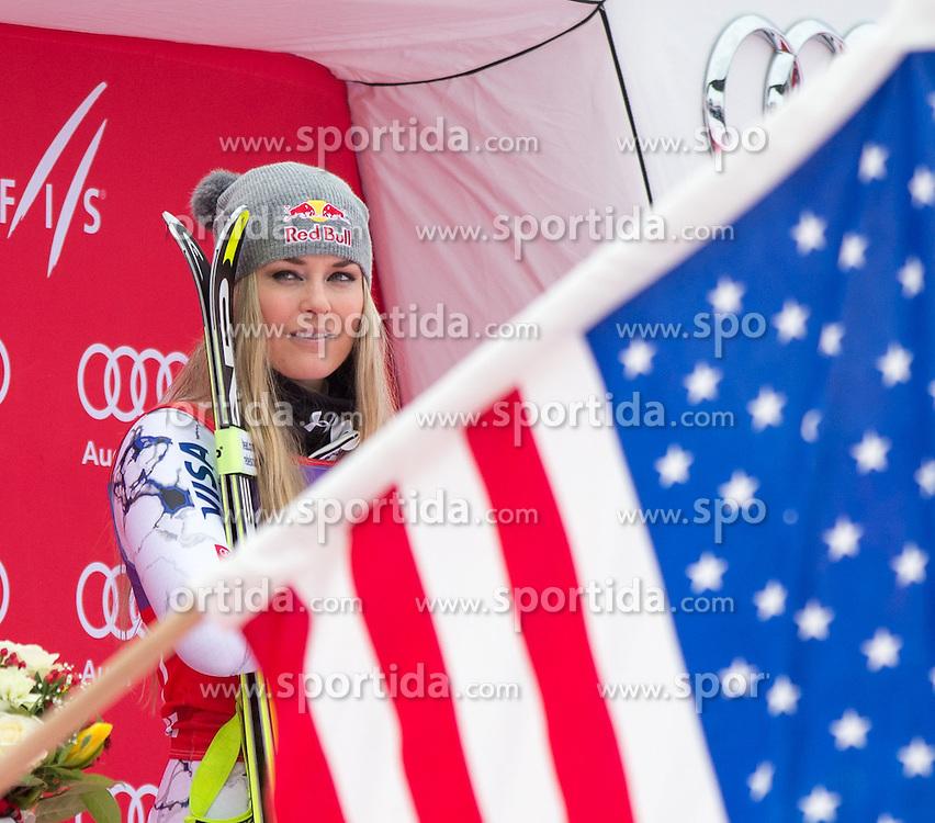 09.01.2016, Keelberloch Rennstrecke, Altenmarkt Zauchensee, AUT, FIS Weltcup Ski Alpin, Zauchensee, Abfahrt, Damen, Podium, im Bild Lindsey Vonn (USA, 1. Platz) // winner Lindsey Vonn of the USA celebrate on Podium after ladies Downhill of the Zauchensee FIS Ski Alpine World Cup at the Keelberloch Rennstrecke in Altenmarkt Zauchensee, Austria on 2016/01/09. EXPA Pictures © 2016, PhotoCredit: EXPA/ Johann Groder