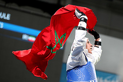BUENOS AIRES, Oct. 12, 2018  Fatima-Ezzahra Aboufaras of Morocco celebrates after the women's +63kg taekwondo final against Kimia Hemati of Iran at the 2018 Summer Youth Olympic Games in Buenos Aires, Argentina on Oct. 11, 2018. Fatima-Ezzahra Aboufaras won 18-16. (Credit Image: © Li Ming/Xinhua via ZUMA Wire)