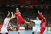 Luka Stepancic (Croatia) and Aliaksandr Tsitou, Maxime Babichev (Belarus) during the EHF 2018 Men's European Championship, 2nd Round, Handball match between Croatia and Belarus on January 18, 2018 at the Arena in Zagreb, Croatia - Photo Laurent Lairys / ProSportsImages / DPPI