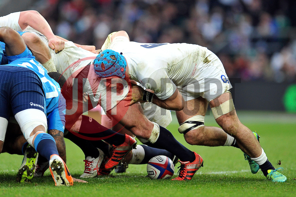 James Haskell of England in action at a scrum - Photo mandatory by-line: Patrick Khachfe/JMP - Mobile: 07966 386802 14/02/2015 - SPORT - RUGBY UNION - London - Twickenham Stadium - England v Italy - Six Nations Championship