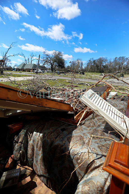 24 February 2016. Schexnaydre St, Convent, Louisiana.<br /> Scenes of devastation following a deadly EF2 tornado touchdown. 2 confirmed dead. A bedroom of a house destroyed by the storm. <br /> Photo©; Charlie Varley/varleypix.com