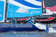 The Wave Muscat, practice racing on practice day for the Cardiff Extreme Sailing Series Regatta. 21/8/2014