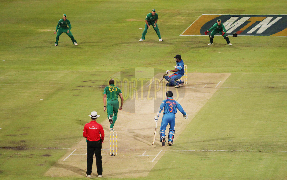 Yusuf Pathan of India gets hit by a delivery from Morne Morkel of South Africa  during the 3nd ODI between South Africa and India held at Sahara Park Newlands Stadium in Cape Town, Western Cape, South Africa on the 18th January 2011..Photo by Ron Gaunt/BCCI/SPORTZPICS