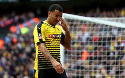 Troy Deeney of Watford rubs his eye - Mandatory by-line: Robbie Stephenson/JMP - 24/04/2016 - FOOTBALL - Wembley Stadium - London, England - Crystal Palace v Watford - The Emirates FA Cup Semi-Final