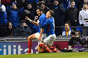 Goal - Christian Burgess (6) of Portsmouth celebrates after he scores a goal to make the score 4-1 with Ronan Curtis (11) of Portsmouth  during the The FA Cup match between Portsmouth and Barnsley at Fratton Park, Portsmouth, England on 25 January 2020.