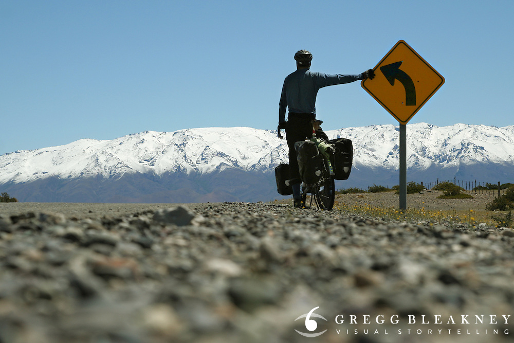 Self portrait - Crossing the imaginary line south into Argentinian Patagonia,