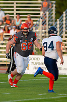 KELOWNA, BC - AUGUST 3:  Daniel Townsend #66 of Okanagan Sun looks to block Mixon Madland LB #94 of Kamloops Broncos  at the Apple Bowl on August 3, 2019 in Kelowna, Canada. (Photo by Marissa Baecker/Shoot the Breeze)