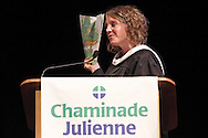2003 CJ graduate Sarah Budd, now a third-grade teacher in Indianapolis, quotes a passage from Dr. Suess as she delivers the commencement address during the Chaminade Julienne High School Class of 2012 commencement exercises at the Schuster Center in downtown Dayton, Monday, May 21, 2012.