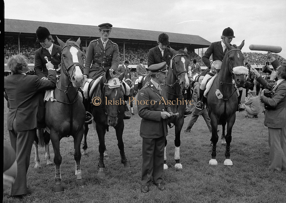 Aga Khan Trophy..1979..10.08.1979..08.10.1979..10th August 1979..The annual staging of the Aga Khan Cup took place  at the Royal Dublin Showgrounds, Ballsbridge,Dublin today.It was the first time since 1937 that Ireland won the trophy outright. The winning Irish team comprised of Paul Darragh,Capt Con Power,James Kernan and Eddie Macken..Image of the Irish team conducting interviews after victory in the Aga Khan Cup.