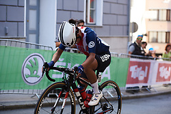 Coryn Rivera (USA) in a solo move at UCI Road World Championships 2018 - Elite Women's Road Race, a 156.2 km road race in Innsbruck, Austria on September 29, 2018. Photo by Sean Robinson/velofocus.com