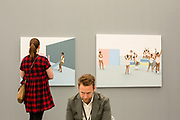 New York, NY - May 3, 2019. Paintings by Thenjiwe Niki Nkosi in the Mariana Ibrahim Gallery at the Frieze Art Fair on New York City's Randalls Island.