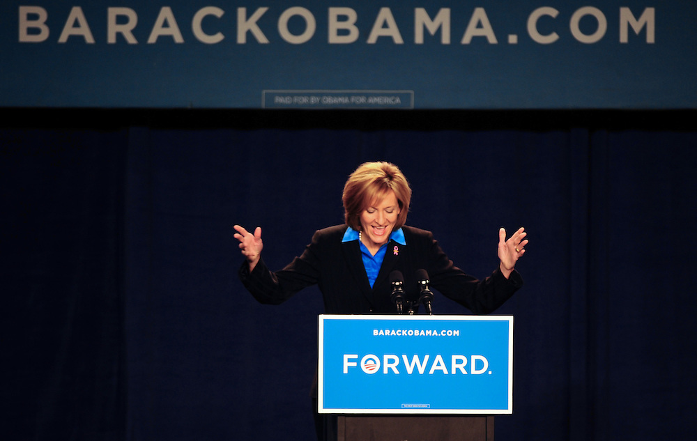 LAURA FONG | Ohio Congresswoman Betty Sutton addresses the crowd at a rally for Barack Obama atTri-c West in Parma Thursday.