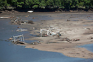Boat ramps and debris sit along the bottom of Lake Delhi in Delhi, Iowa on Monday, July 26, 2010.