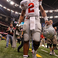 January 4, 2011; New Orleans, LA, USA;  Ohio State Buckeyes quarterback Terrelle Pryor (2) walks off the field following a win over the Arkansas Razorbacks in the 2011 Sugar Bowl at the Louisiana Superdome.Ohio State defeated Arkansas 31-26. Mandatory Credit: Derick E. Hingle