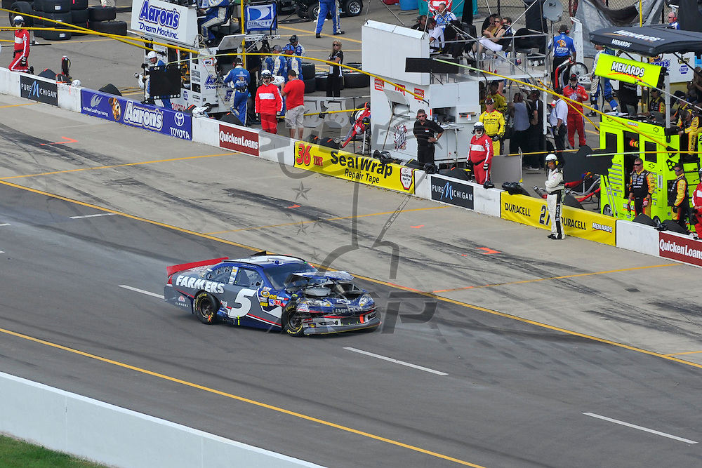 Brooklyn, MI - JUN 17, 2012: Kasey Kahne (5) crashes in turn 3 during race action for the Quicken Loans 400 race at the Michigan International Speedway in Brooklyn, MI.