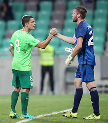 Darijan Matic of NK Olimpija and Igor Semrinec of AS Trencin after 1st Leg football match between NK Olimpija Ljubljana (SLO) and FK AS Trencin (SVK) in Second Qualifying Round of UEFA Champions League 2016/17, on July 13, 2016 in SRC Stozice, Ljubljana, Slovenia. Photo by Morgan Kristan / Sportida