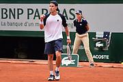 Diego Schwartzman (USA) celebrates winning the first set during the third round of the Roland Garros Tennis Open 2017 at  at Roland Garros Stadium, Paris, France on 2 June 2017. Photo by Jon Bromley.
