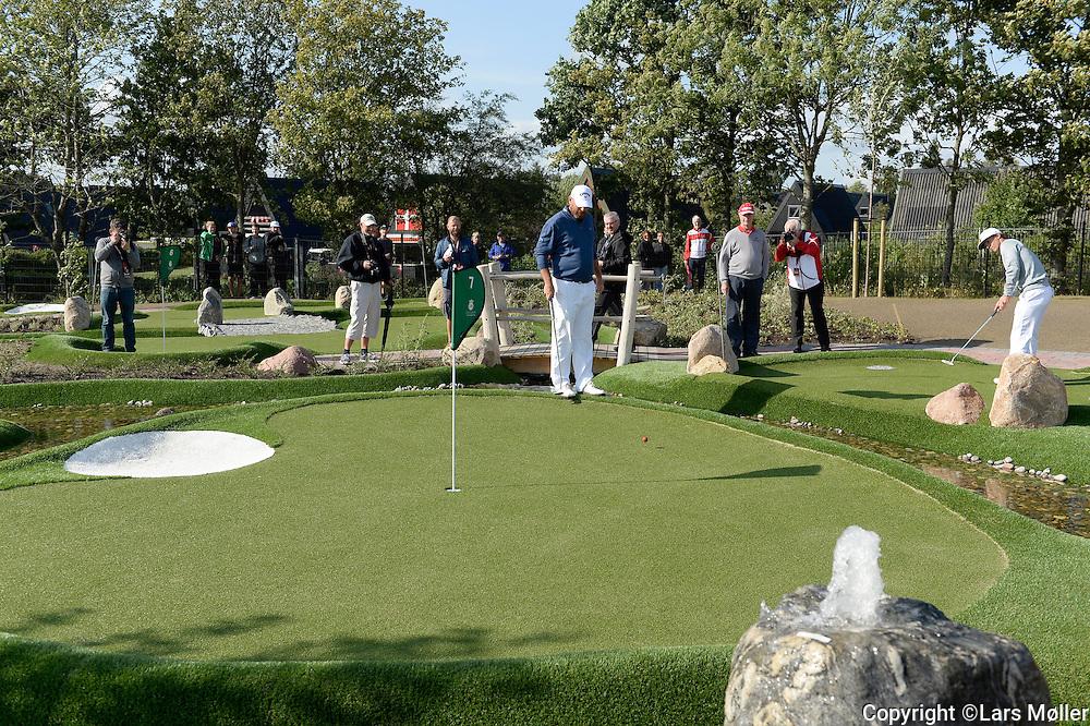 DK Caption:<br /> 20140812, Aars, Danmark:<br /> Made in Denmark Golf. Minigolfturnering &aring;bnes af Lars Larsen JYSK. Thomas Bj&oslash;rn og Thorbj&oslash;rn Olesen<br /> Foto: Lars M&oslash;ller<br /> UK Caption:<br /> 20140812, Aars, Denmark:<br /> Made in Denmark Golf. Minigolf tournament opened by Lars Larsen Jysk Senget&oslash;jslager. Thomas Bj&oslash;rn og Thorbj&oslash;rn Olesen<br /> Photo: Lars Moeller