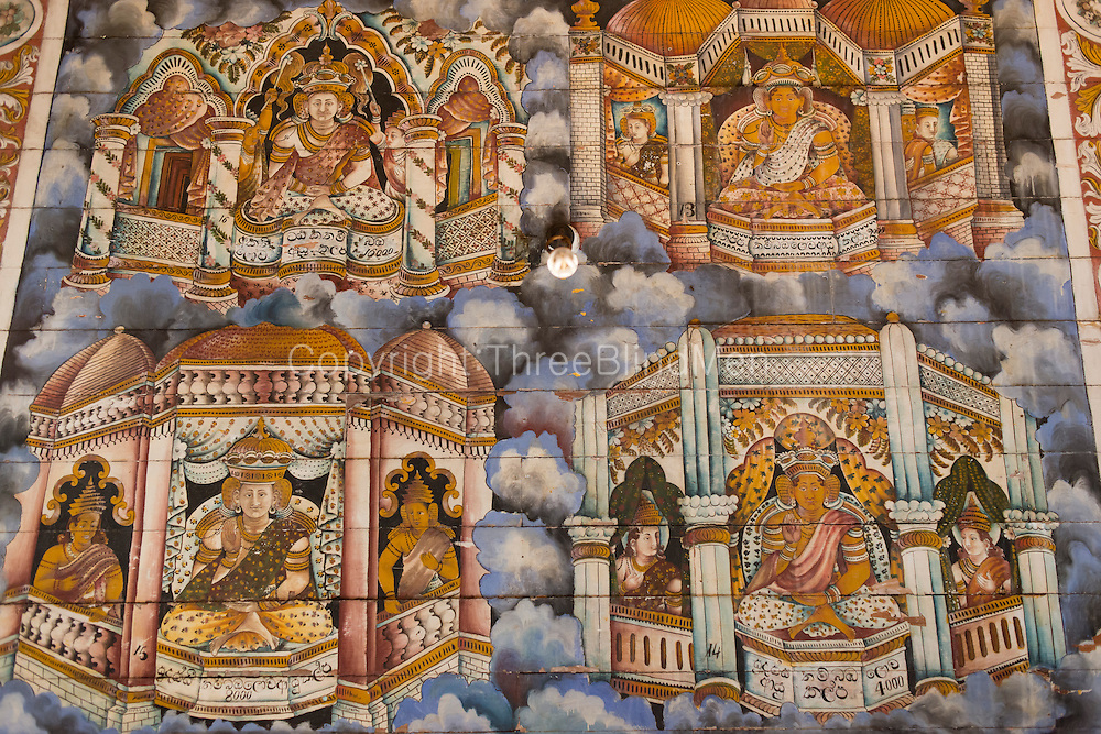 Painted woden ceiling.<br /> Subodharmaya Temple at Dehiwala. This temple complex has fine examples of Buddhist art and architecture. Dehiwala is a suburb of Colombo, just South of the city.
