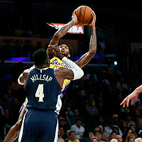 02 October 2017: Los Angeles Lakers forward Brandon Ingram (14) goes for the jump shot over Denver Nuggets forward Paul Millsap (4) during the Denver Nuggets 113-107 victory over the LA Lakers, at the Staples Center, Los Angeles, California, USA.