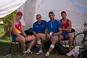 Plovdiv BULGARIA. 2017 FISA. Rowing World U23 Championships. <br /> Inside the Romanian Team Tent<br /> Friday Boat Area. Boat Racks Pontoons.<br /> <br /> 08:55:54  Friday  21.07.17   <br /> <br /> [Mandatory Credit. Peter SPURRIER/Intersport Images].