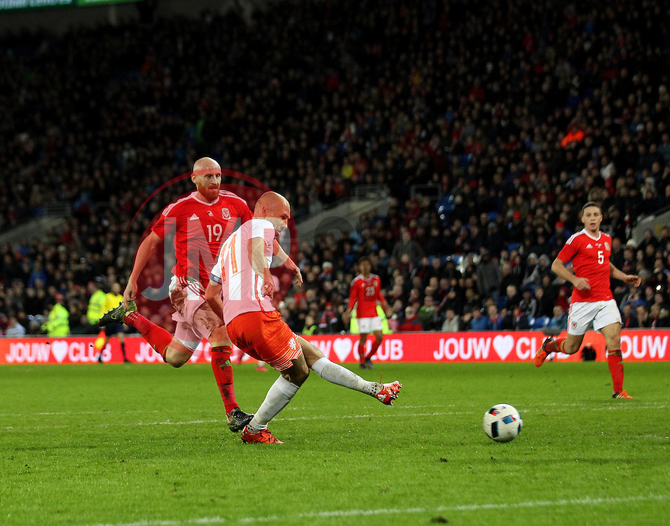 Arjen Robben of The Netherlands scores his second goal - Mandatory byline: Robbie Stephenson/JMP - 07966 386802 - 13/11/2015 - FOOTBALL - Cardiff City Stadium - Cardiff, Wales - Wales v Netherlands - International Friendly