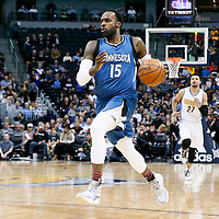 15 February 2017: Minnesota Timberwolves forward Shabazz Muhammad (15) drives during the Minnesota Timberwolves 112-99 victory over the Denver Nuggets, at the Pepsi Center, Denver, Colorado, USA.