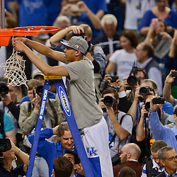 Apr 2, 2012; New Orleans, LA, USA; Kentucky Wildcats forward Anthony Davis cuts down the net after defeating the Kansas Jayhawks 67-59 in the finals of the 2012 NCAA men's basketball Final Four at the Mercedes-Benz Superdome. Mandatory Credit: Derick E. Hingle-US PRESSWIRE